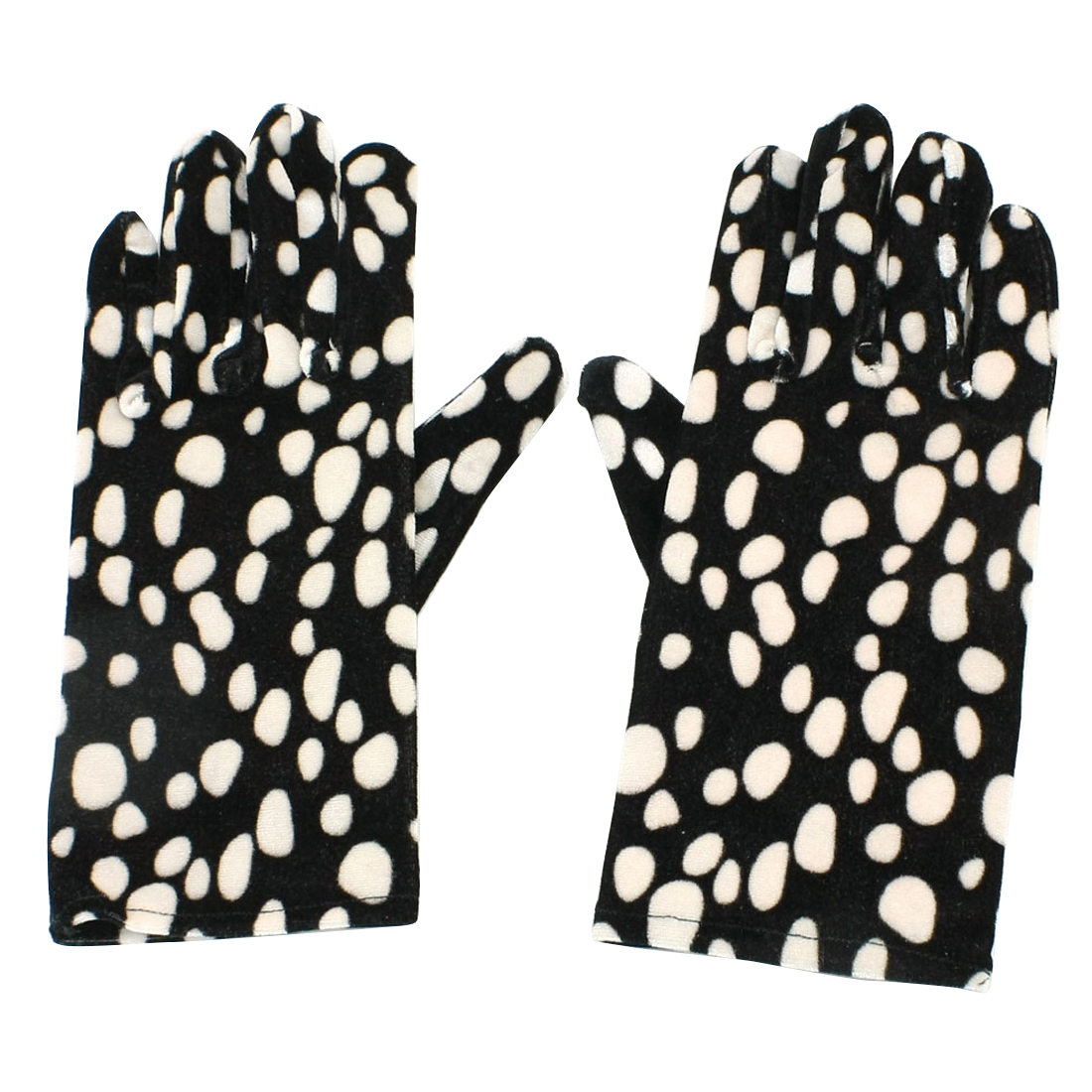 Lady Beige Footprint Prints Full Fingers Winter Warm Gloves Black Pair