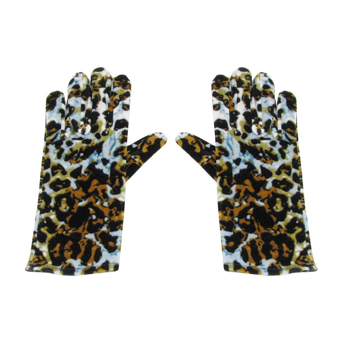 Lady Pair Leopard Print Full Fingers Hand Wearing Warm Gloves Colorful