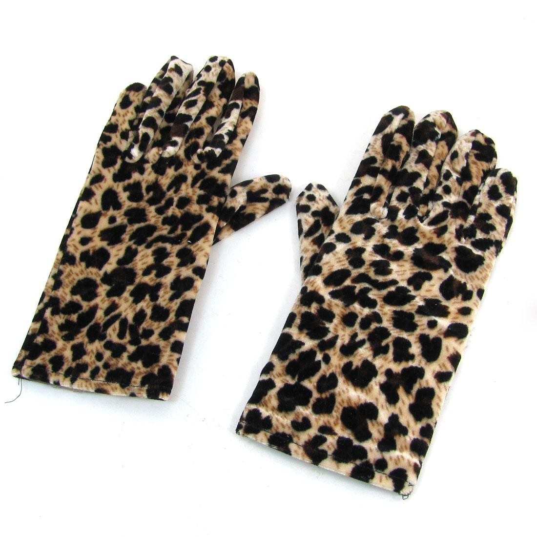 Woman Leopard Pattern Retro Style Winter Warm Gloves Beige Dark Brown Pair