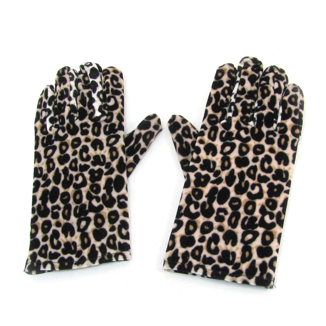 Pair Black Khaki Retro Style Leopard Pattern Winter Warm Gloves for Woman