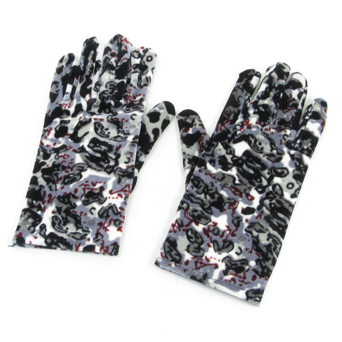 Ladies Fishes Dogs Pattern Retro Style Winter Warm Gloves Black Pair