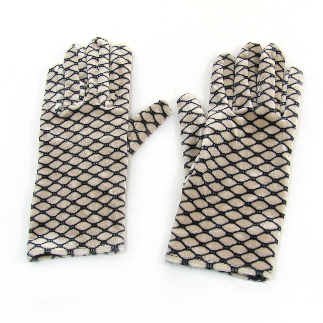 Pair Black Khaki Lozenge Pattern Velvet Winter Warm Gloves for Woman