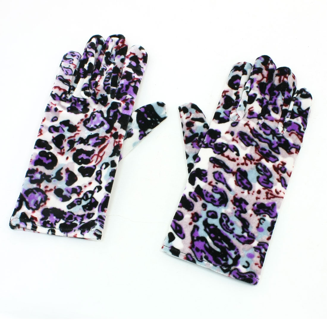 Multicolor Leopard Print Full Finger Palm Warmer Winter Warm Gloves Pair