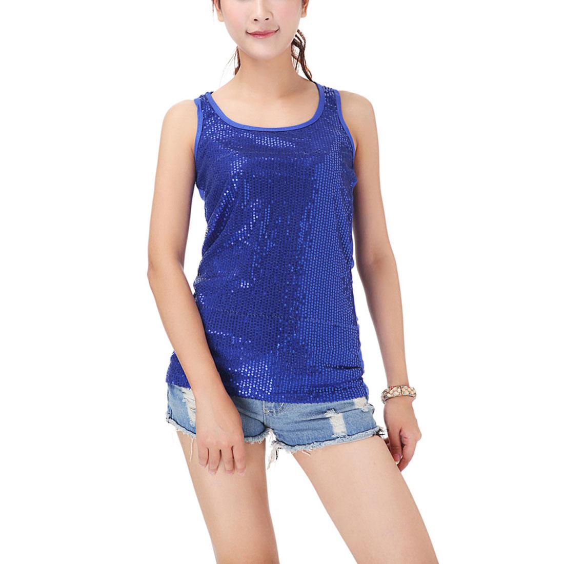 Ladies Korea Style Sleeveless Elastic Racerback Tank Top Dark Blue XS