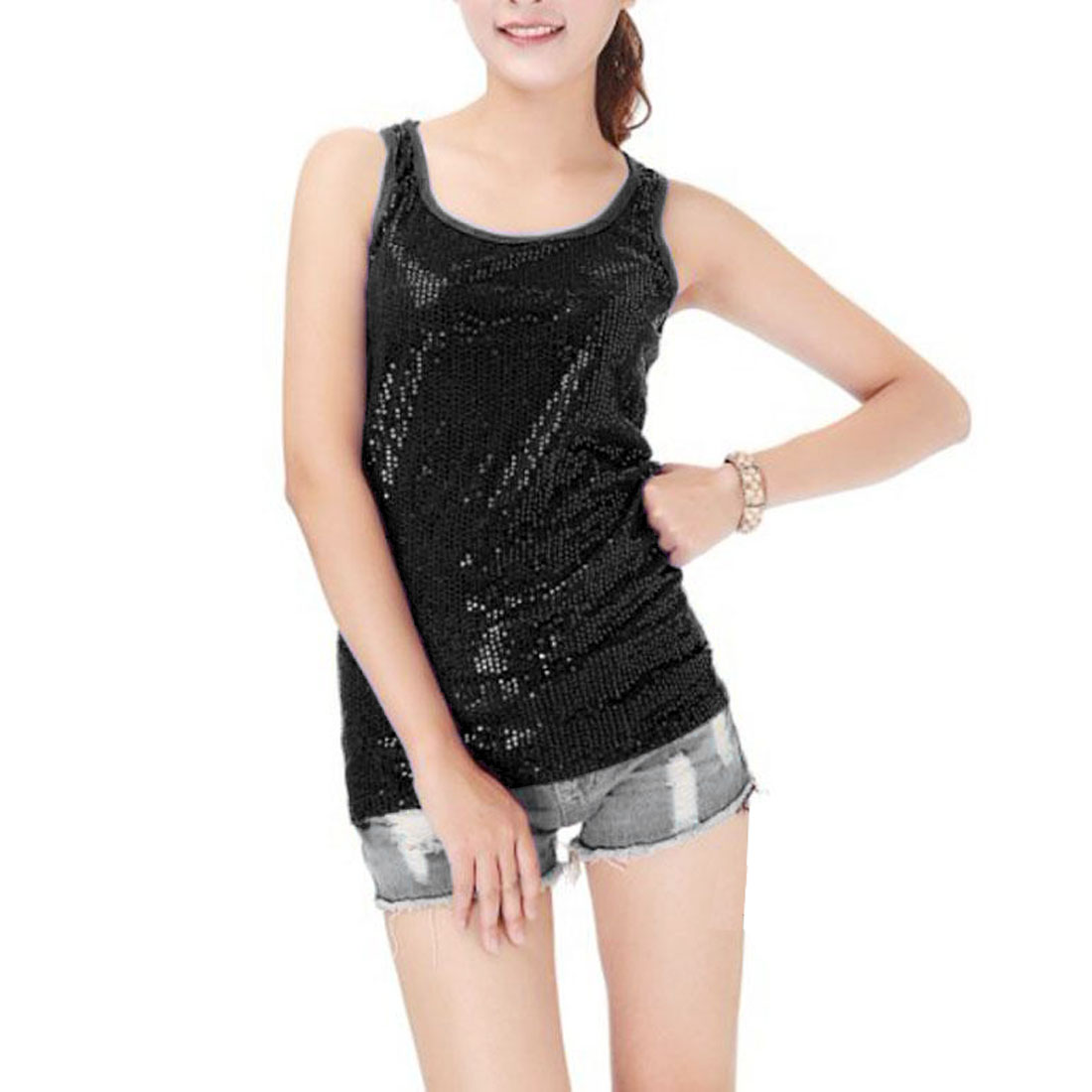 Woman Black Glittery Sequins Detail Closefitting Slim Racerback Tank Top XS