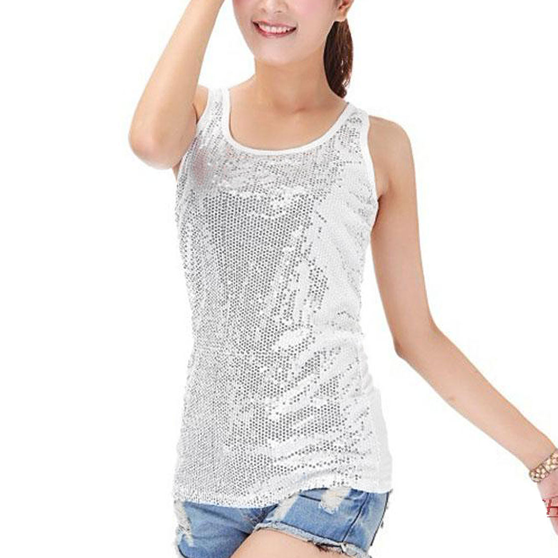 U Neck White Sequins Inlaid Summer Fashion Racerback Tank Top XS for Women