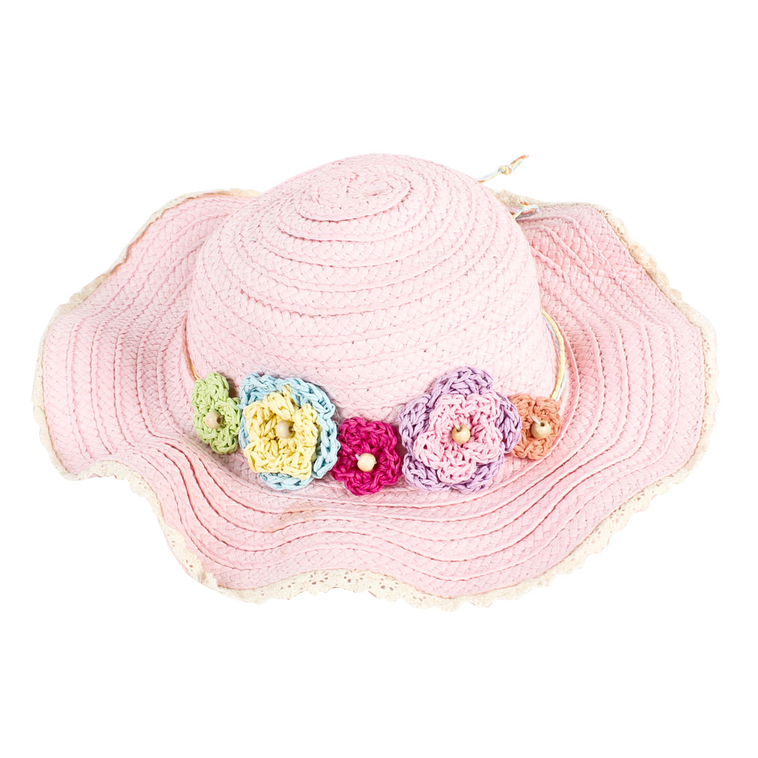Girls Assorted Colors Flower Ornament Crochet Flounced Straw Hat Sun Cap Pink