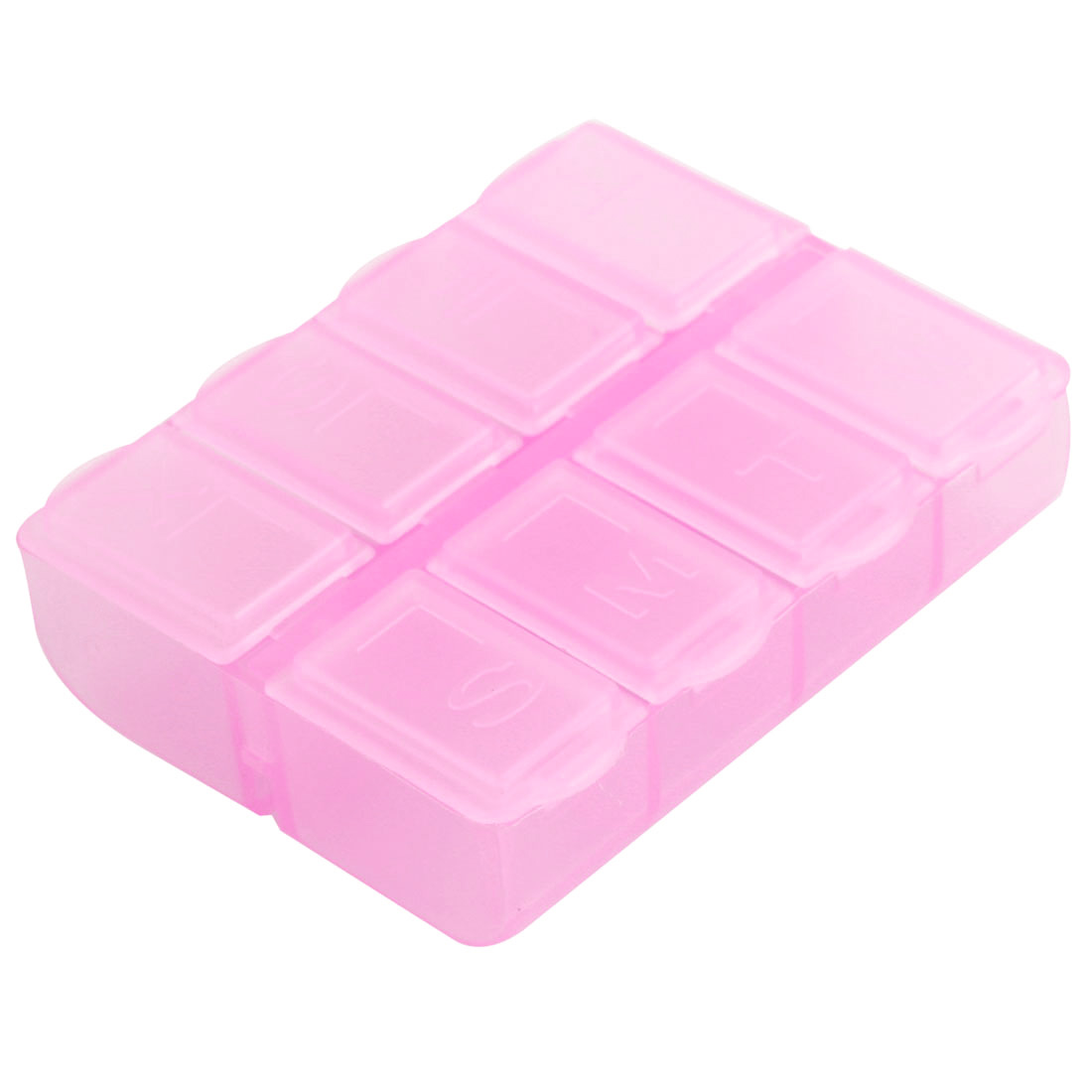 Travel Pink Plastic Rectangle 8 Compartments 7 Days Medicine Pill Box