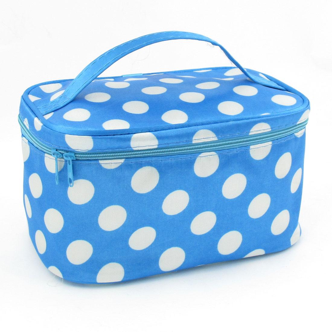 Travel White Dot Print Zipper Closure Rectangle Cosmetic Makeup Bag Blue