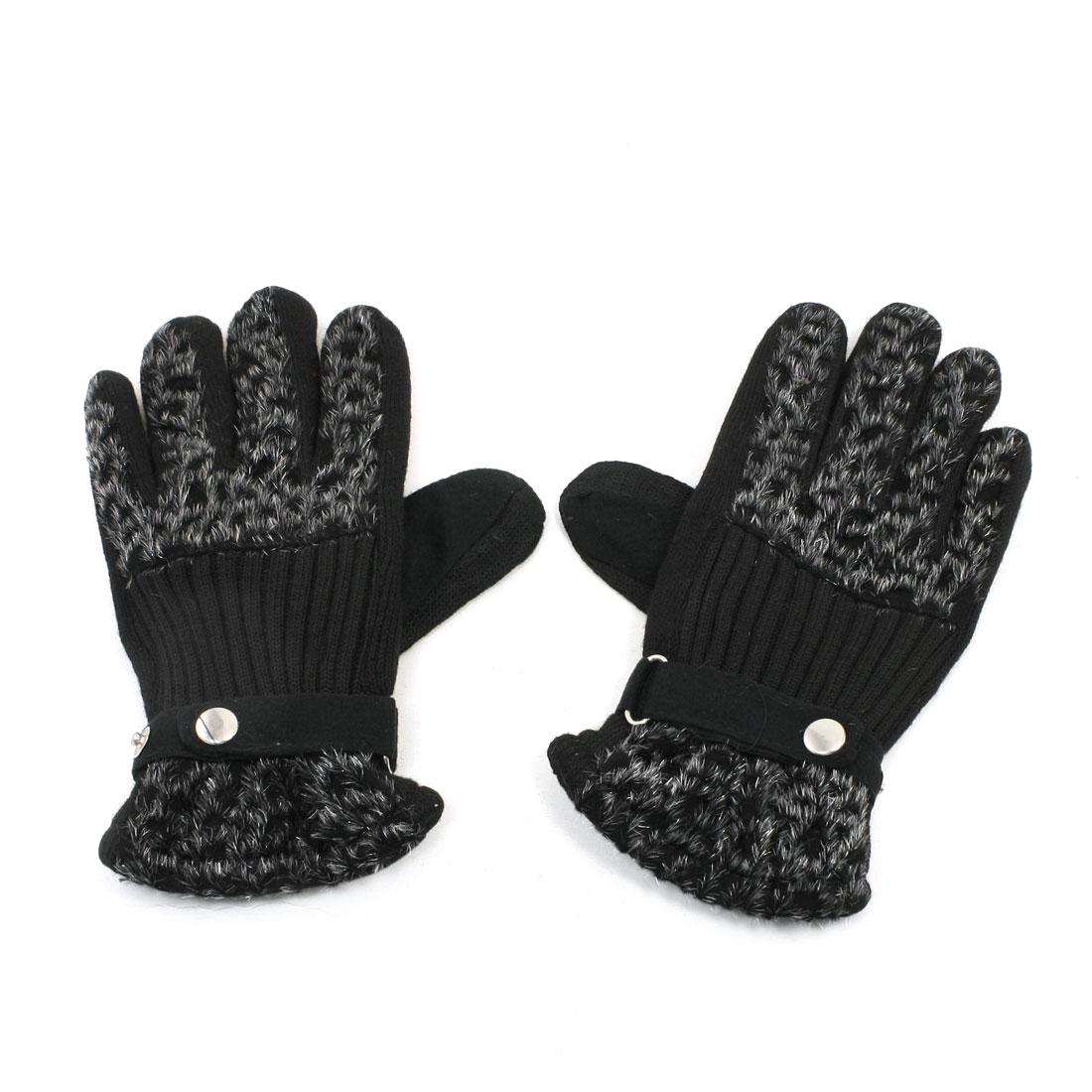 Ladies Black Leopard Pattern Full Finger Winter Warmer Gloves Pair