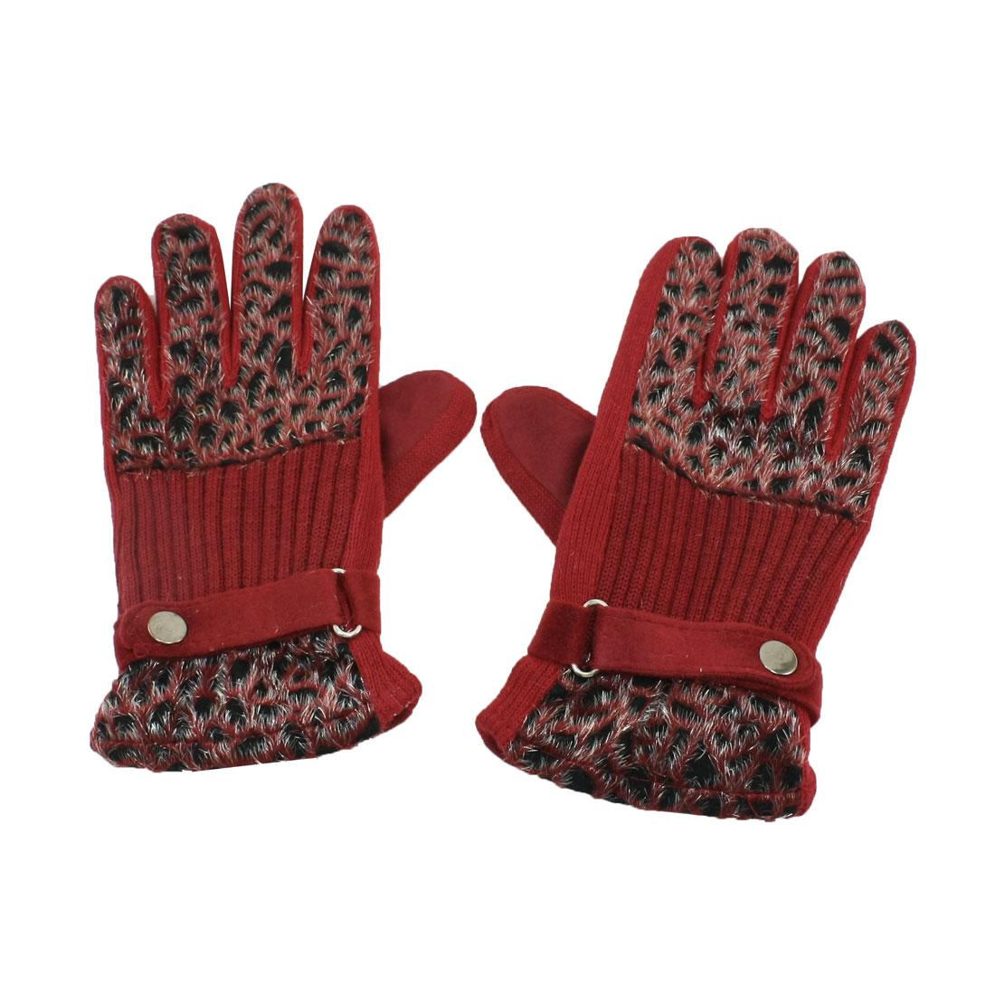 Women Leopard Print Winter Hand Wearing Full Fingers Gloves Dark Red Pair