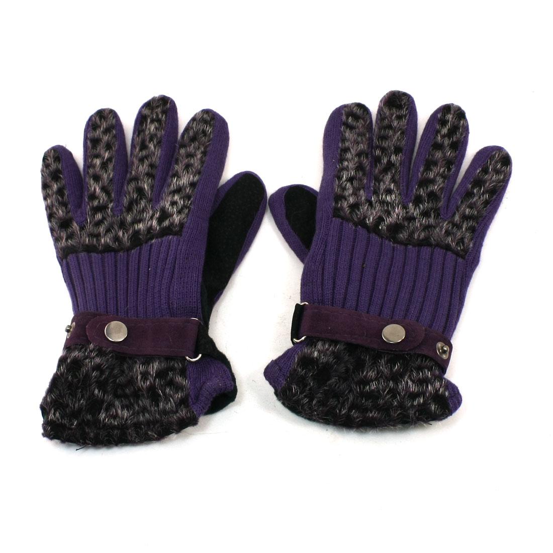 Ladies Leopard Print Press Stud Fixed Full Fingers Winter Gloves Dark Purple