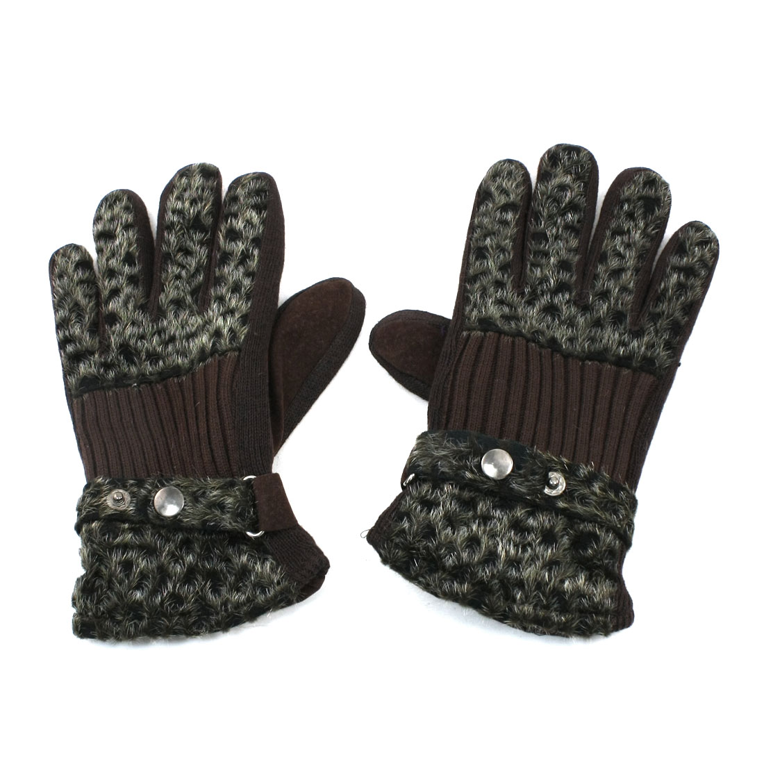 Leopard Printed Fleecy Lined Winter Full Fingers Gloves Coffee Color Unisex