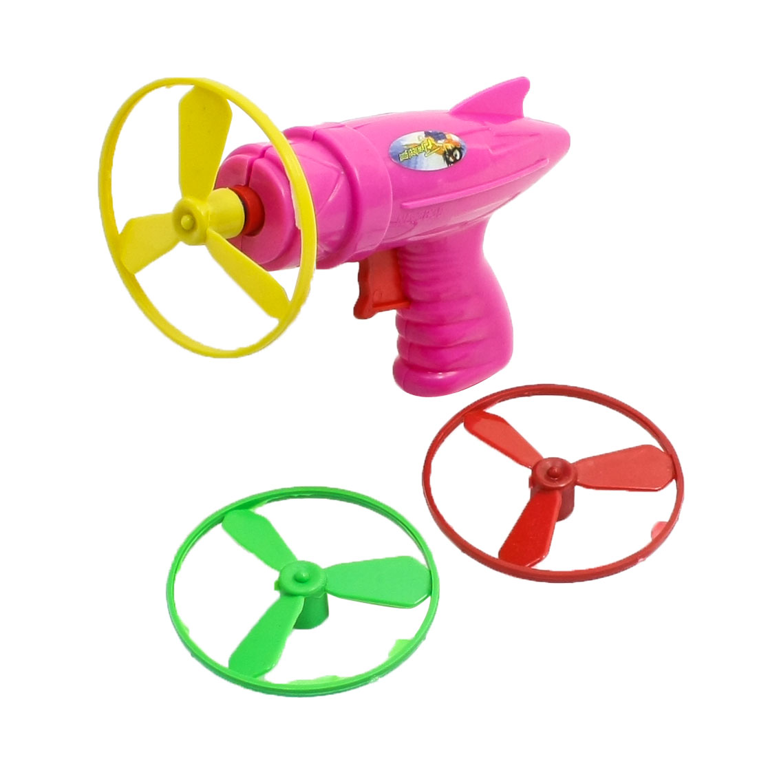 Fuchsia Plastic w Three 55mm Diameter Flywheels Toy for Kids
