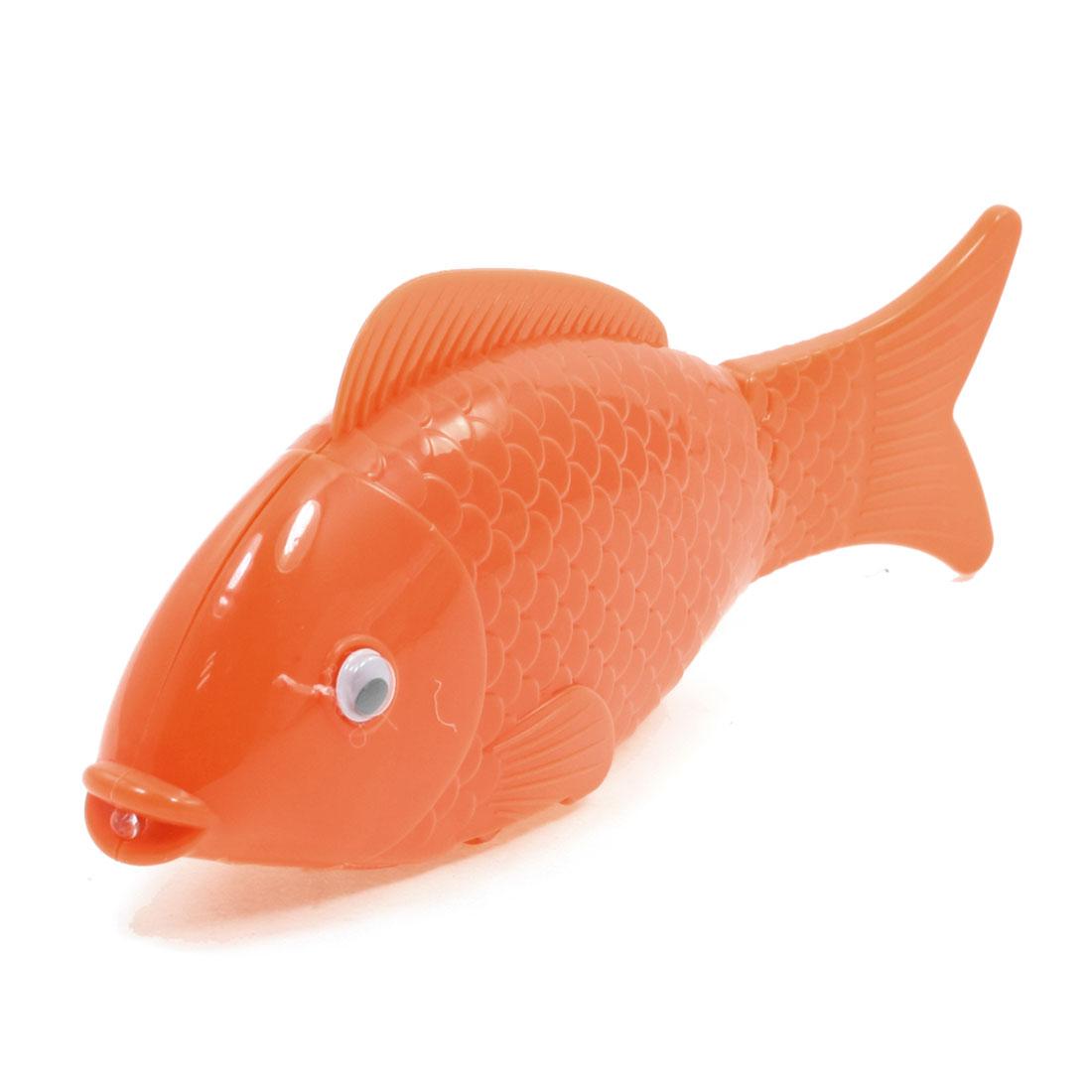 Kids Gift Orange Plastic Body Three Wheels Walking Music Fish Toy