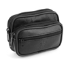 Man Travel Portable Zip up 3 Compartments Waist Bag Pack Pouch Black