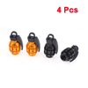 Motorcycle Black Gold Tone Alloy Grenade Shape Tire Tyre Valve Cap Covers 4PCS