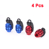4pcs Motorcycle Car Grenade Shaped Tire Valve Covers Protectors Black Burgundy