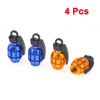 4 x Grenade Style Blue Gold Tone Tire Tyre Valve Caps Covers for Vehicle Car