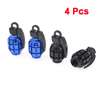 4pcs Motorbike Car Grenade Shaped Tire Valve Covers Protectors Black Blue