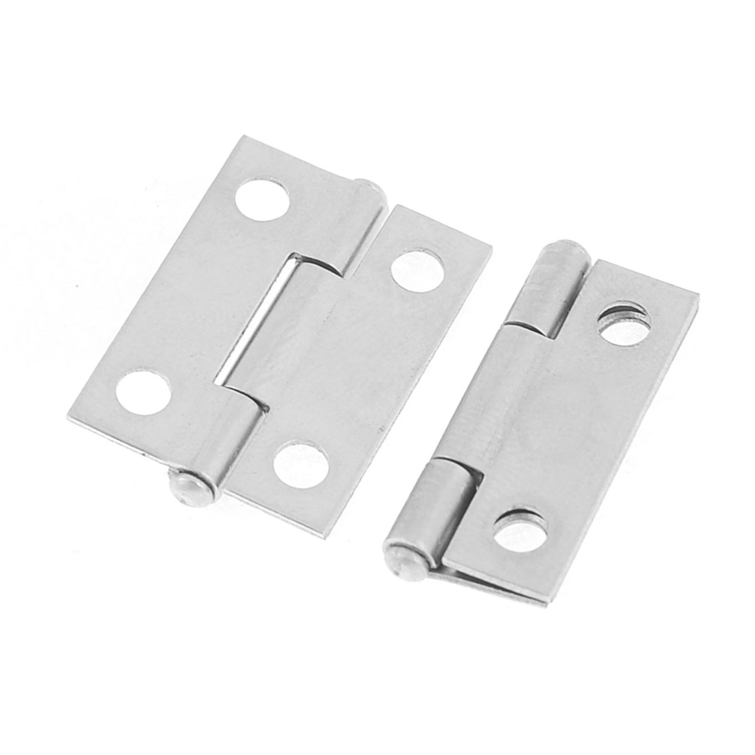 2 Pcs Silver Tone Stainless Steel Cabinet Drawer Door Butt Hinge 2.5 x 1.8cm