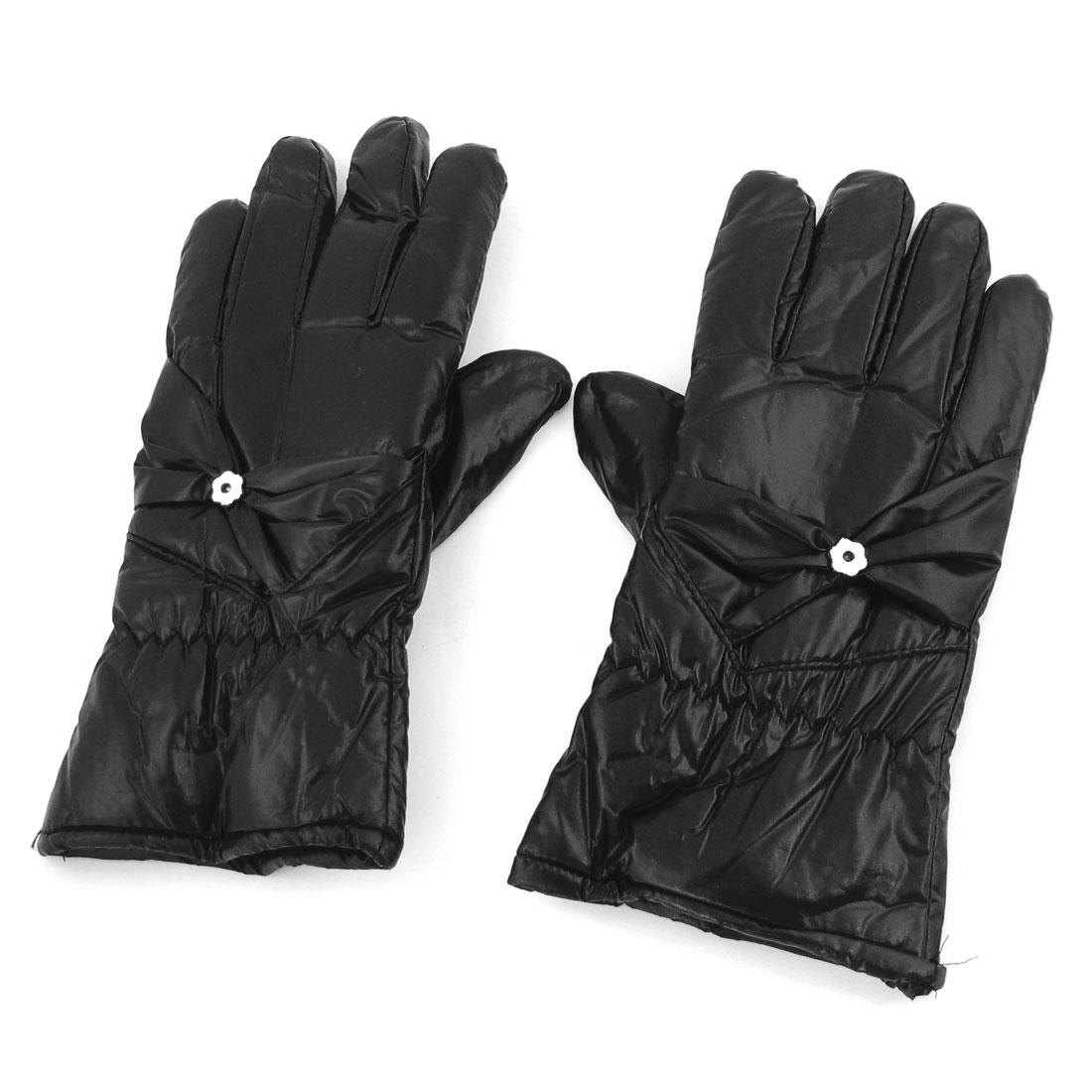 Ladies Pair Ruched Flower Decor Full Finger Winter Warm Gloves Black