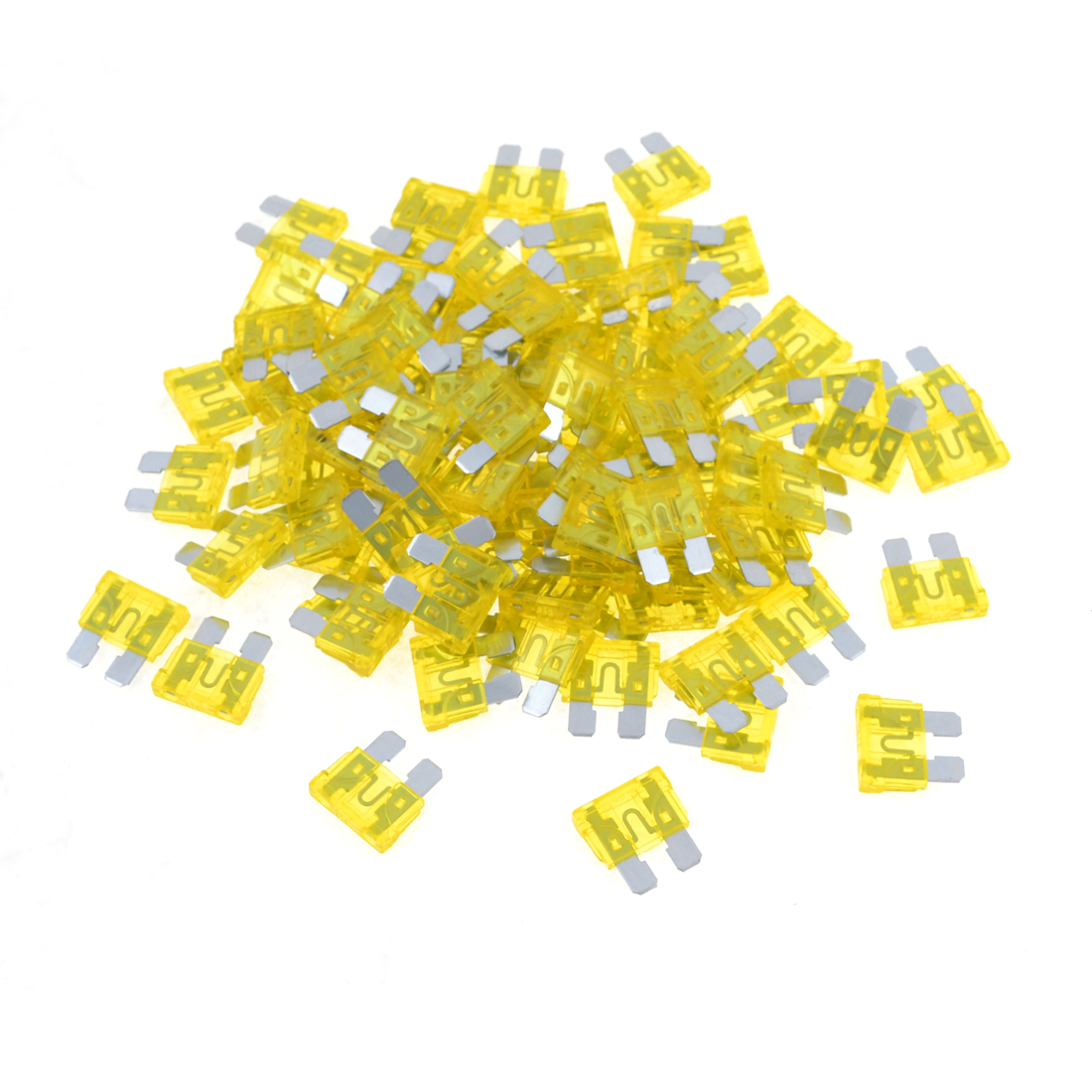Car SUV Yellow Plastic Metal ATS Blade 20W Plug-in Fuses 100 Pcs
