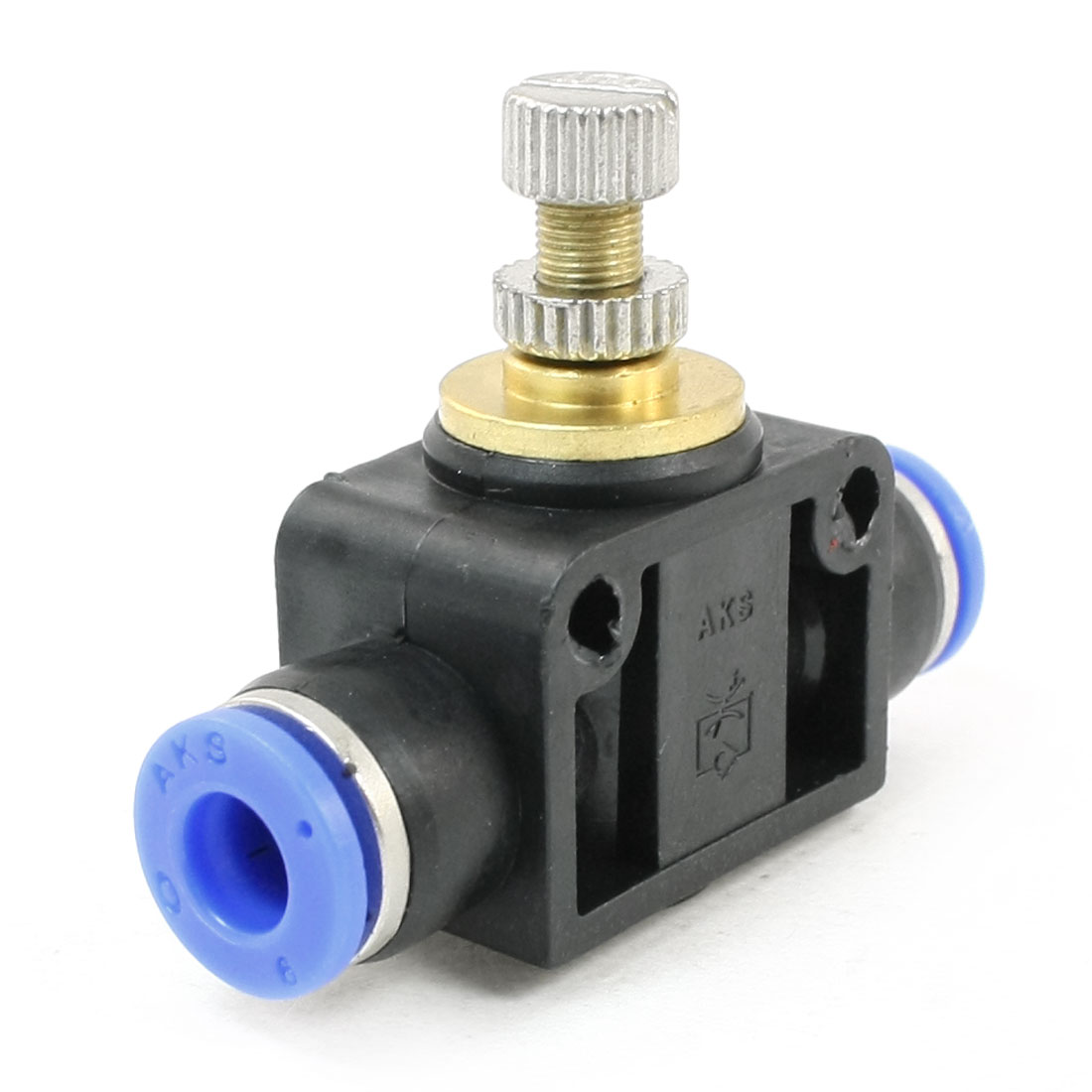 T-joint Type 6mm Dia Connecting Double Way Flow Limiting Pneumatic Valve