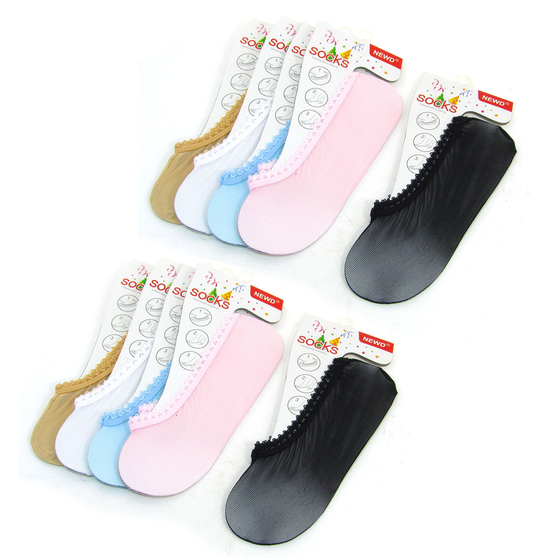 Women Pure Colorful Stretchy Low Cut Footsie Boat Socks 5 Pairs