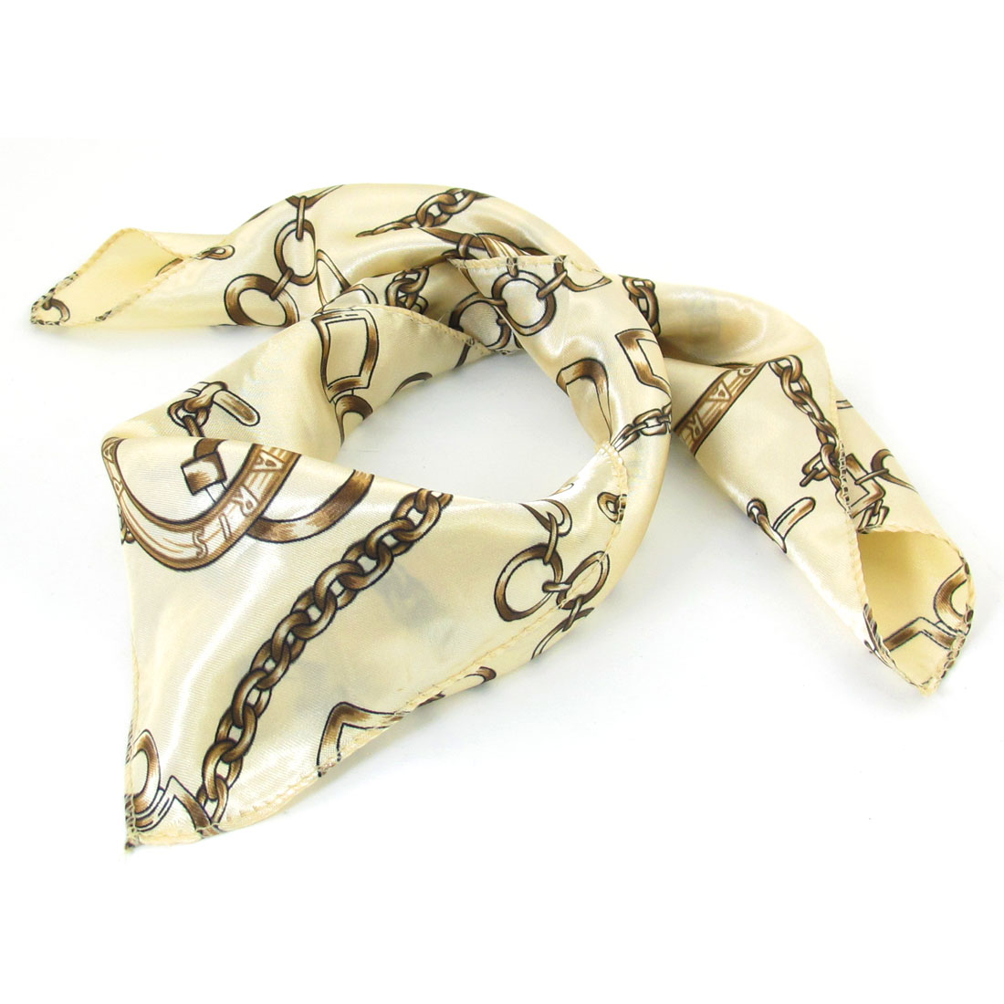 Beige Chain Print Square Neck Scarf Neckerchief for Women