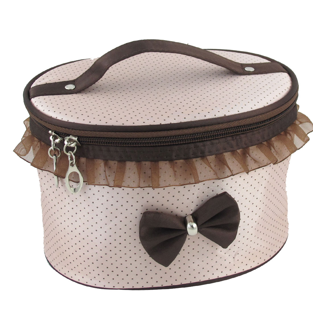 Pale Pink Dots Printed Bowknot Decor Cosmetic Makeup Bag Black for Woman