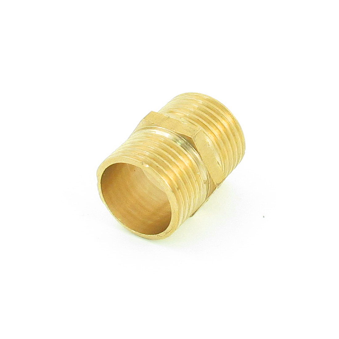 "Gold Tone Brass 1/2"" PT to 1/2"" PT Male/Male Thread Hex Nipple"