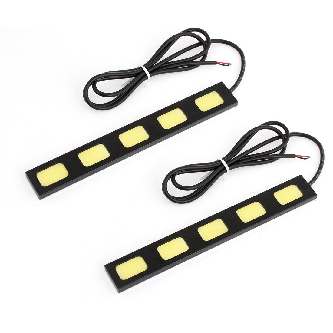Car 15cm Length Adhesive Back White Lamp 5 LED Daytime Running Light 15W 2 Pcs
