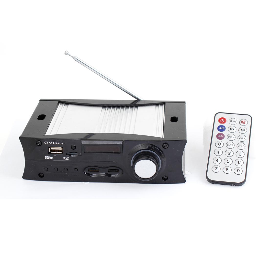 Black 25W DC 12-15V Car Audio MP3 Stereo Hifi Amplifier + USB Port + Remote