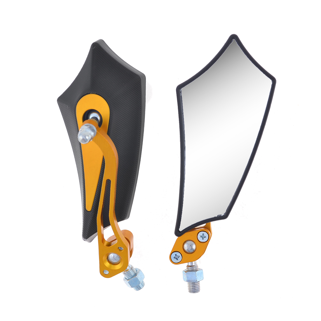 2 Pcs Black Gold Tone Irregular Quadrilateral Shape Motorcycle Rearview Mirror