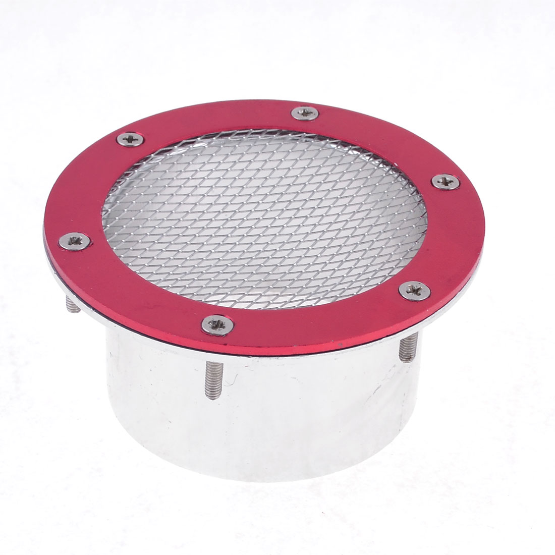 Silver Tone Red Round Air Vent Flow Fender Decorations for Vehicles Cars