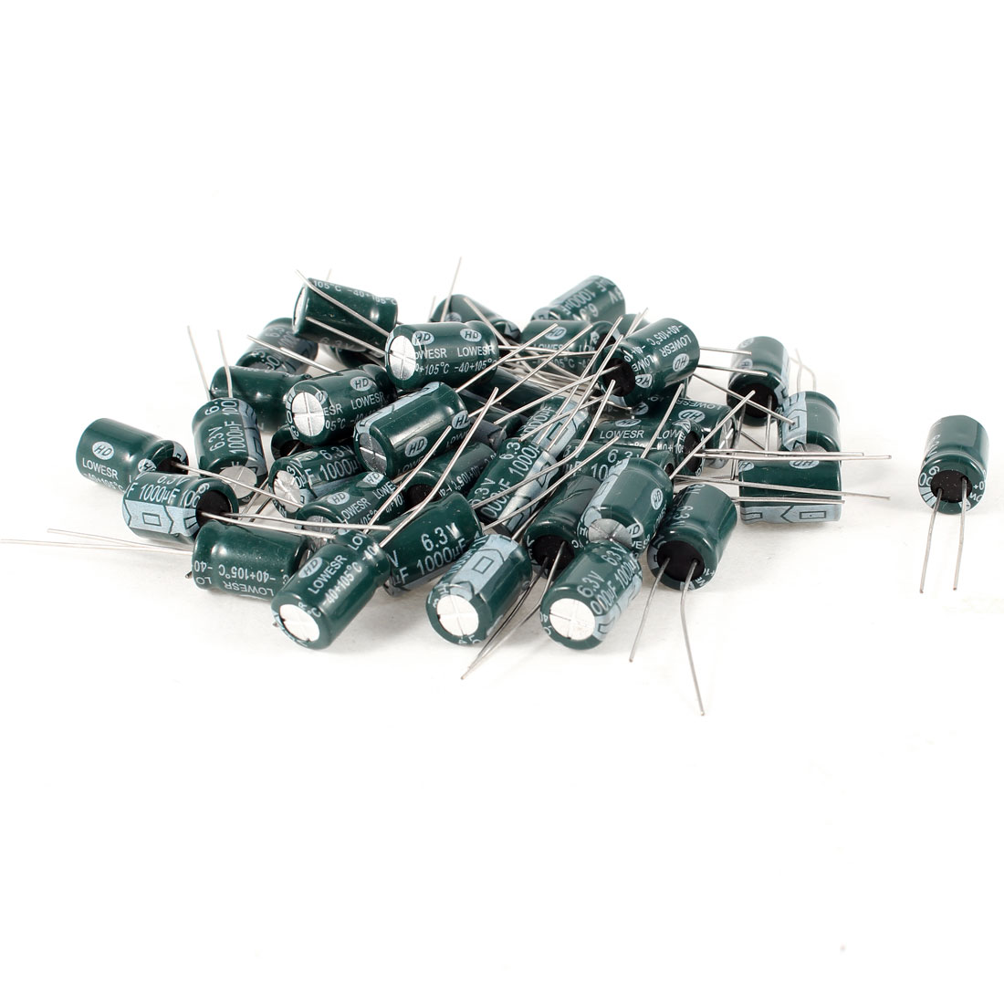 40 Pcs 1000uF 6.3V 105C Radial Electrolytic Capacitors Green 8x12mm
