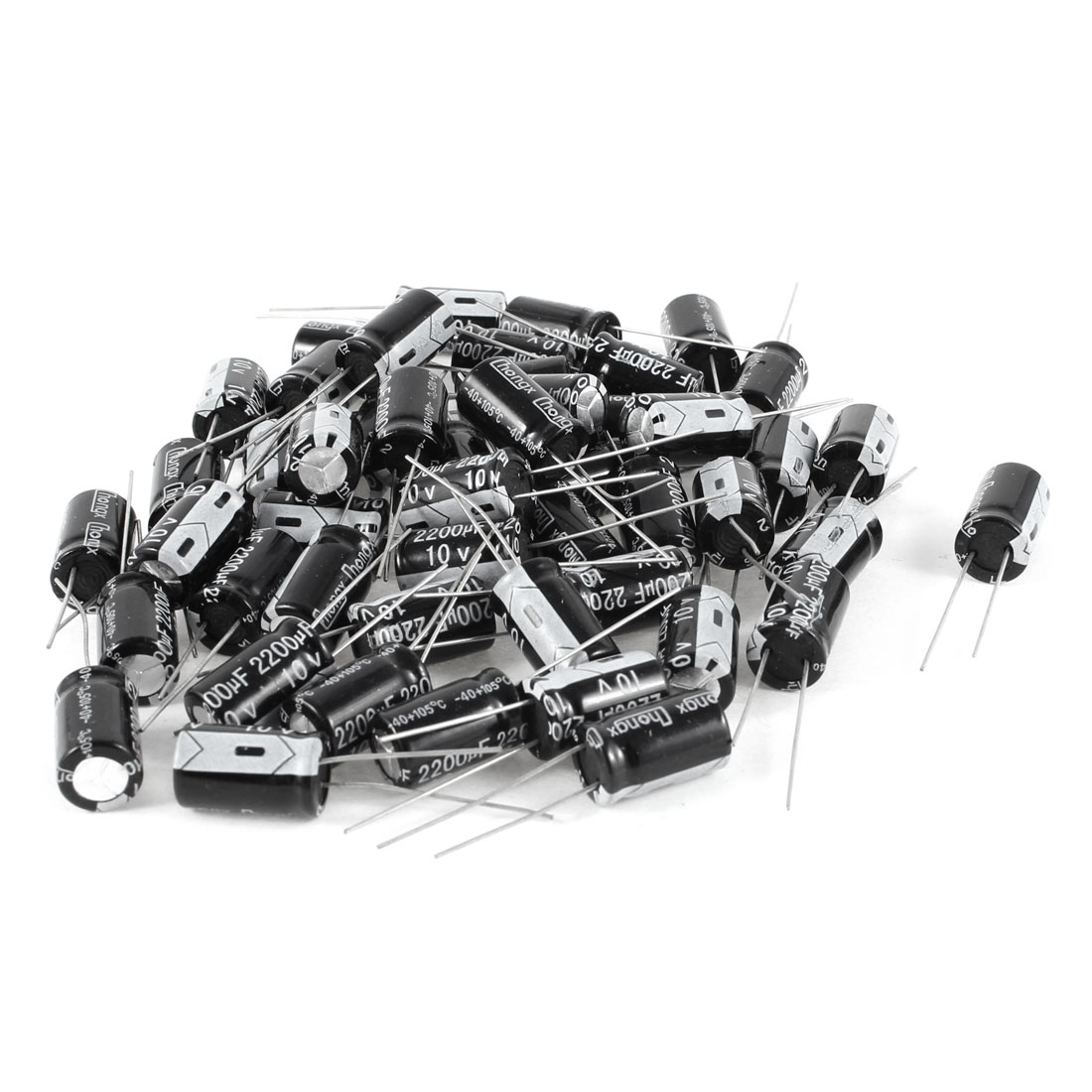 50 Pcs 2200uF 10V 105C Radial Electrolytic Capacitors Black 10x17mm