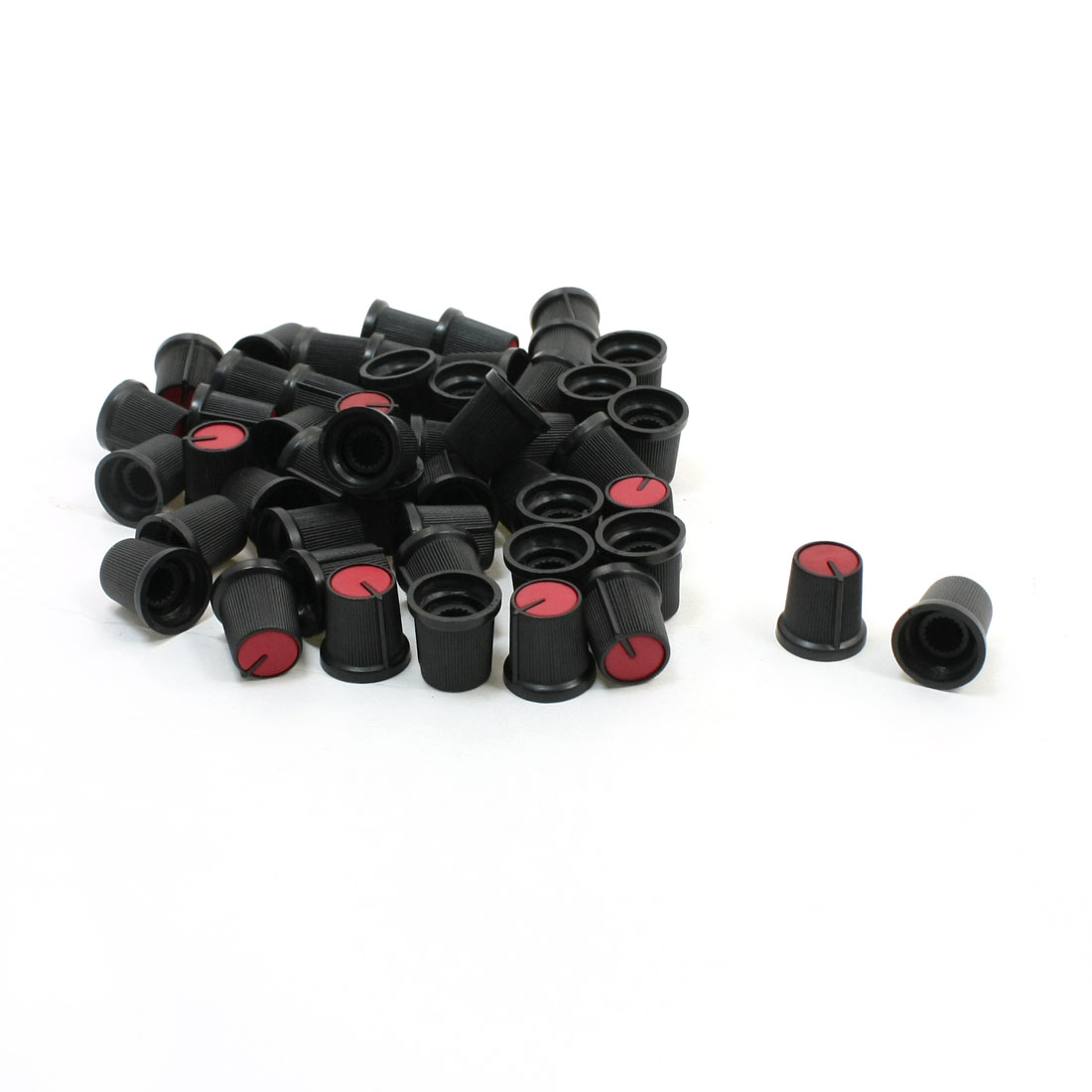 "50 Pcs 6mm 15/64"" Shaft Dia. Nonslip Potentiometer Knobs Red Black"