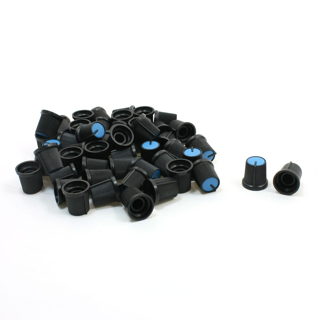 "50 Pcs 6mm 15/64"" Shaft Dia. Nonslip Potentiometer Knobs Blue Black"