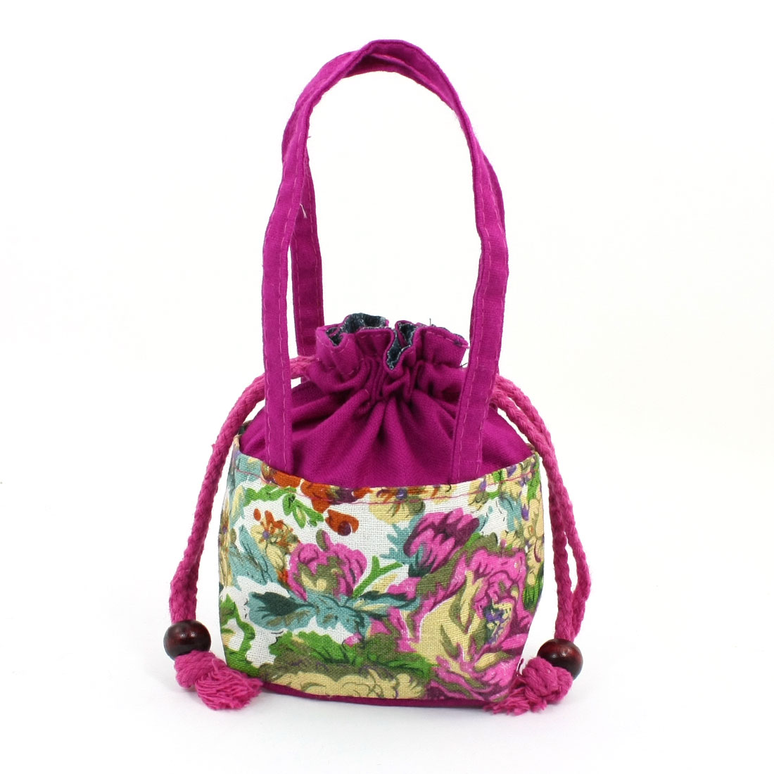 Lady Flower Pattern Fuchsia Coin Change Drawstring Purse Tote Bag