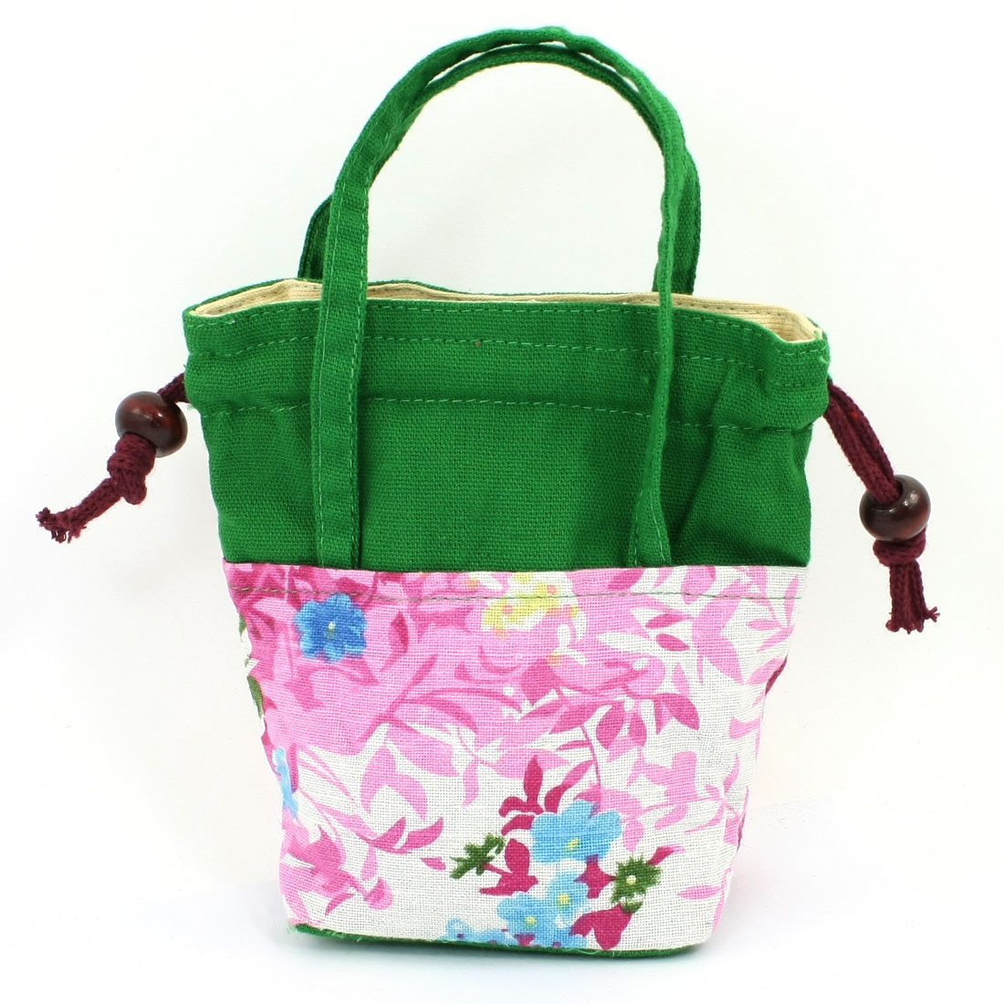 Woman Flower Print Colorful Drawstring Closure Coins Purse Tote Bag