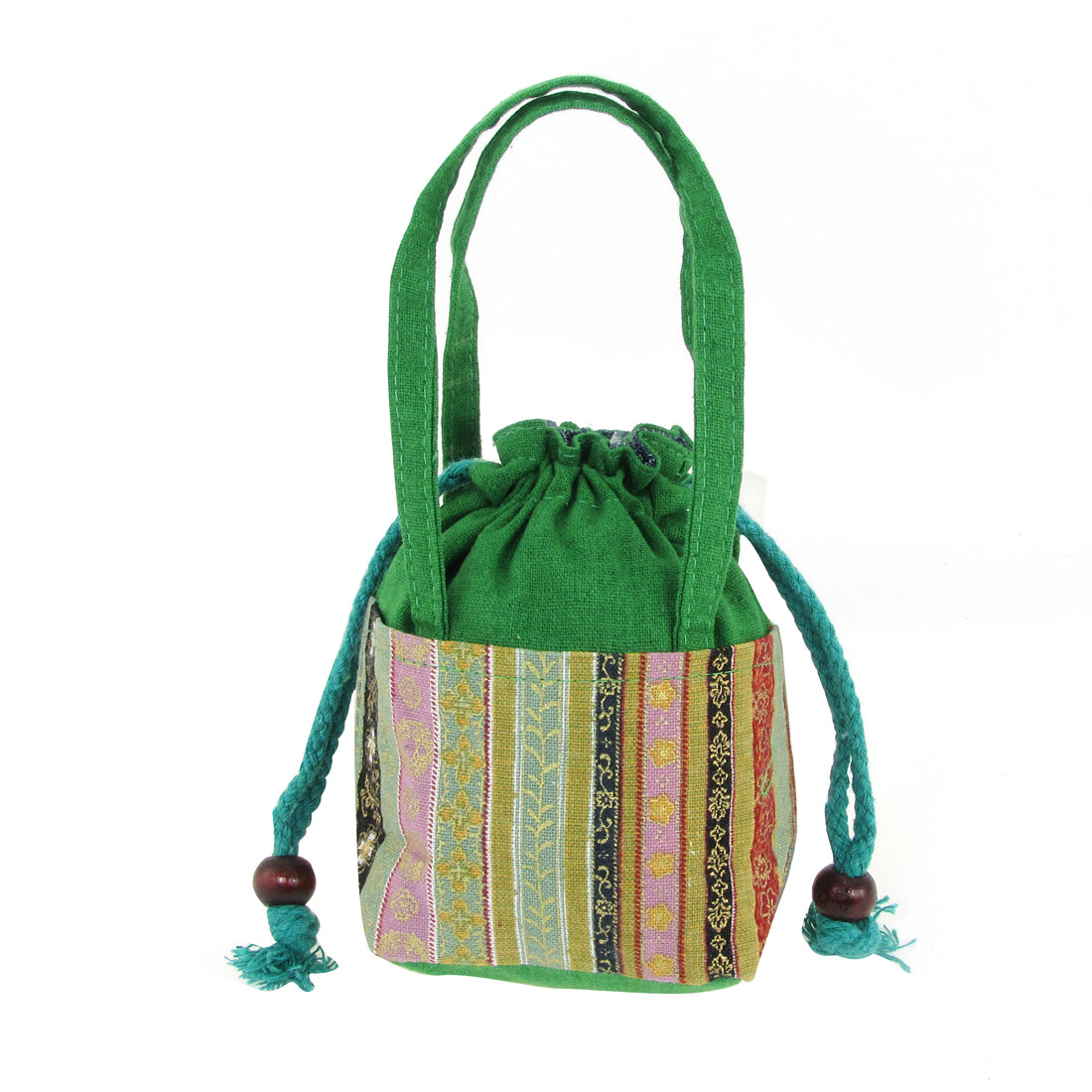 Multi Color Flower Print Coin Drawstring Purse Tote Bag for Woman