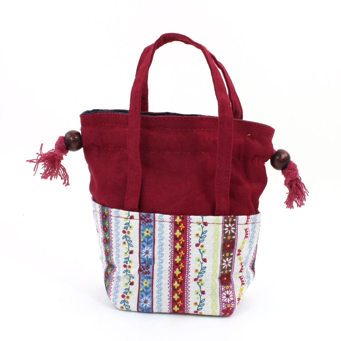 Flower Drawstring Closure Coin Red Nylon Tote Bag for Woman