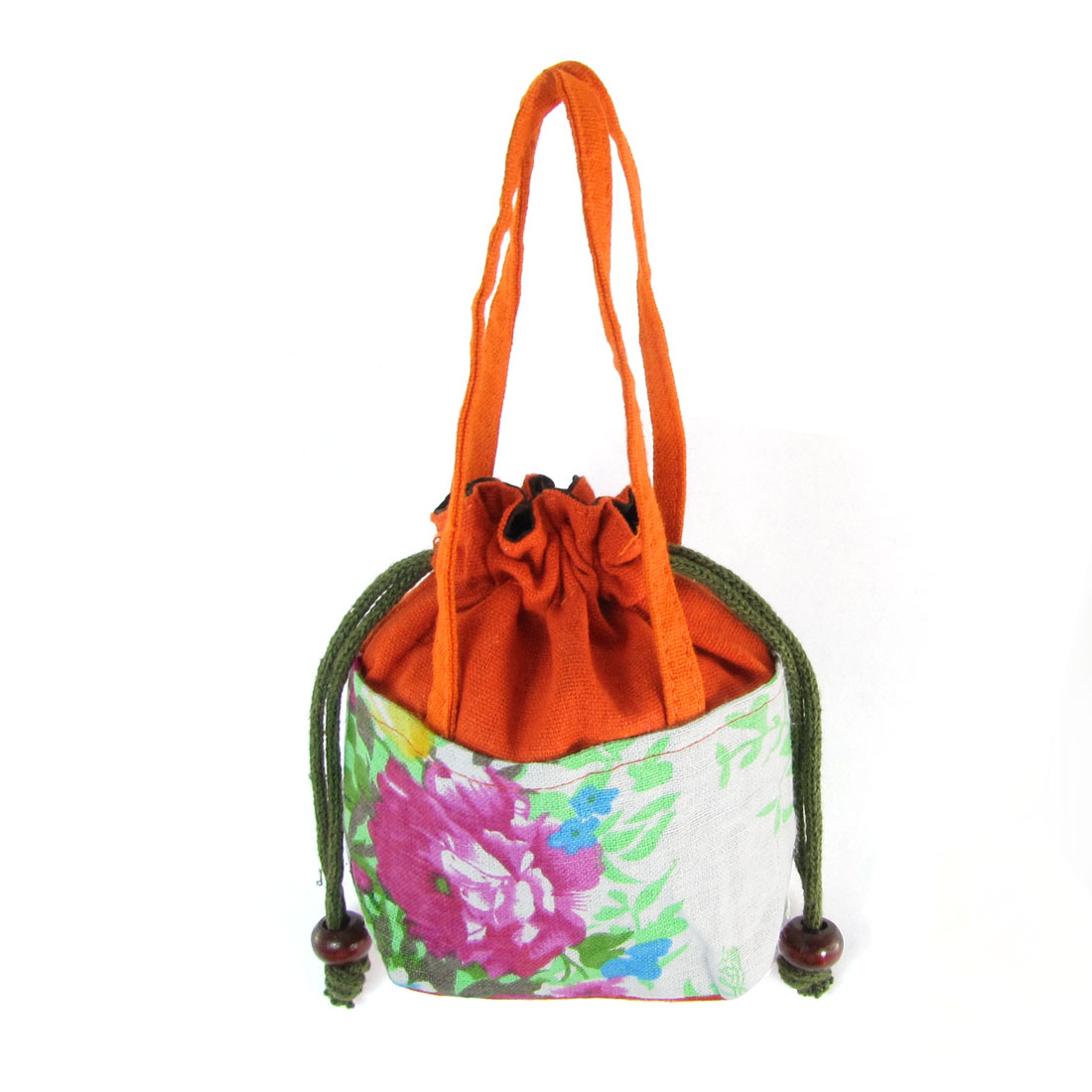 Lady Colorful Floral Pattern Nylon Lipstick Drawstring Tote Bag Purse