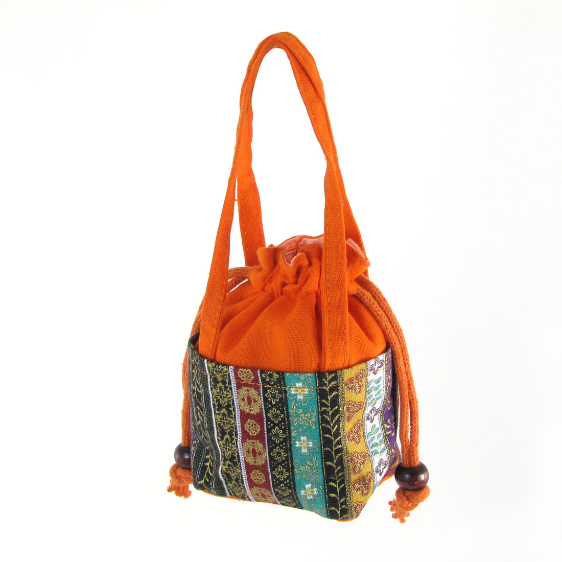 Woman Flower Print Drawstring Closure Orange Nylon Coin Tote Bag Purse