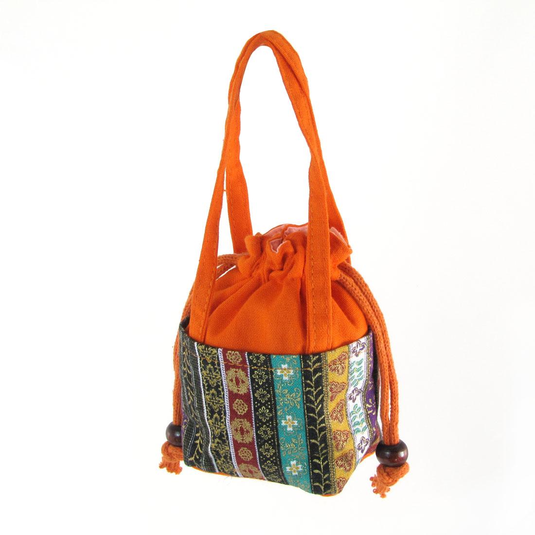 Woman Flower Print Drawstring Closure Orange Nylon Coin Tote Bag Purse