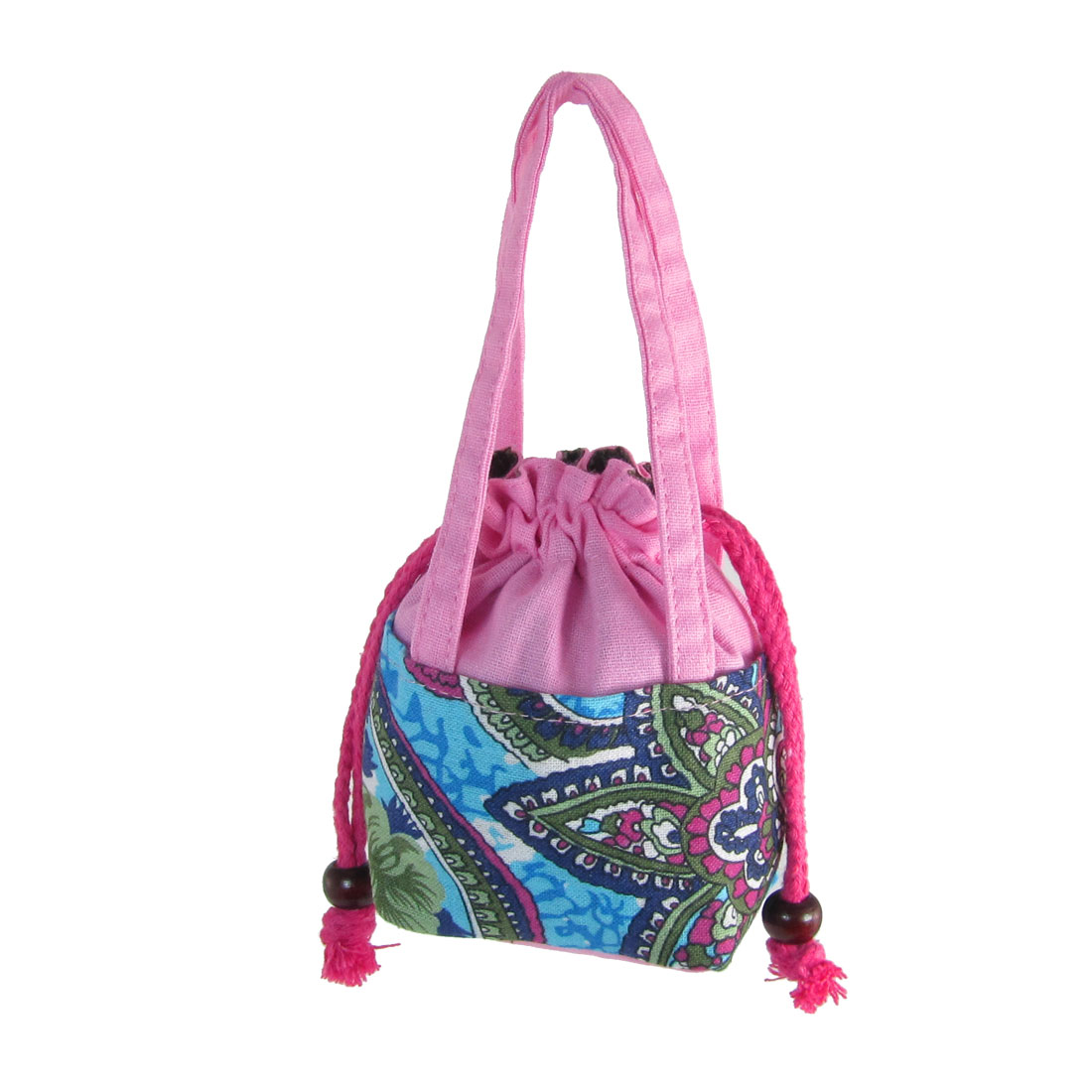 Woman Flower Print Pink Drawstring Closure Coins Purse Tote Bag