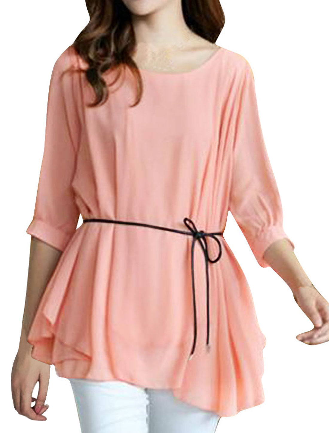Women Half Sleeve with Waist String Blouse Pink S