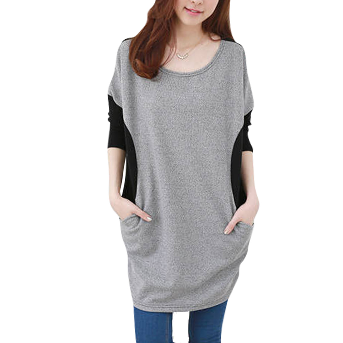 Women Batwing Sleeved Double Pocket Black Gray Knit Tunic Shirt S